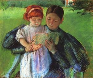 """Mary Cassatt. """"Nurse Reading to a Little Girl."""" 1895. Pastel."""