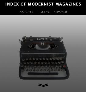 home page of Index of Modernist magazines, with header menu and image of a manual typewriter.